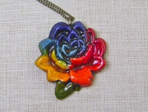 2Tie Dyed Rose pendant